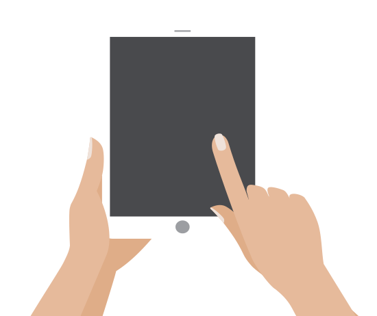 Illustration of hands on a tablet.